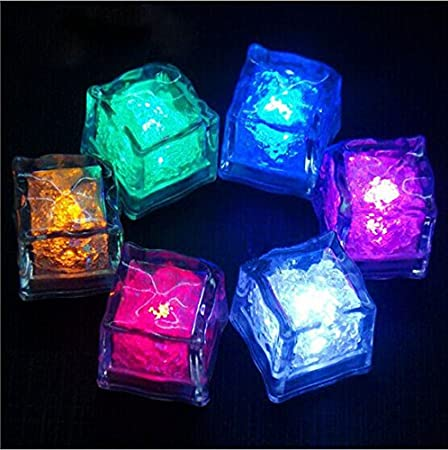 mulife led glow light up ice cubes rocks water submersible for party