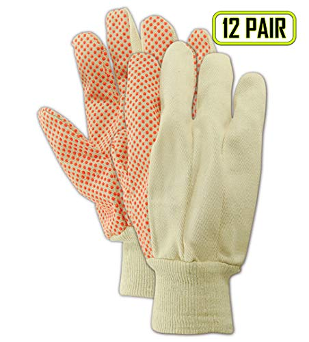 MAGID T40P MultiMaster PVC Dotted Canvas Gloves, Standard, White (12 Pair)