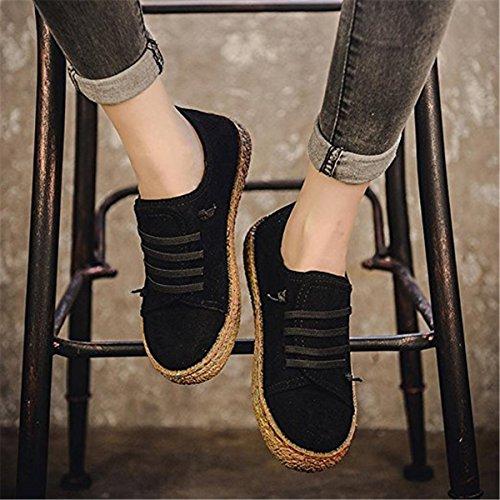 Suède Derby Daim femme Toile Ruiying Bottines À Flat Lacets Baskets Noir Plates Chaussures ZvzWYw6Oqw