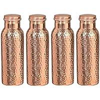 Botella de agua martillada de cobre puro del viajero para beneficios de salud ayurvédica | Conjunto