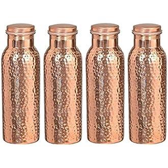 Conjunto Libre Botella de Agua martillada de Cobre Puro del Viajero para Beneficios de Salud ayurv/édica a Prueba de Fugas