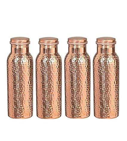 Botella de agua de cobre puro para beneficios de salud ayurvédica (A prueba de juntas