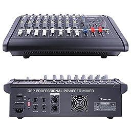 AW 8 Channel 2000 Watt Professional Powered Mixer w/ USB Slot Power Mixing 13x16x5\