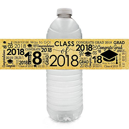 Class of 2018 Graduation Party Favors - Water Bottle Labels, 24 Count (Black and (Favors For Graduation)