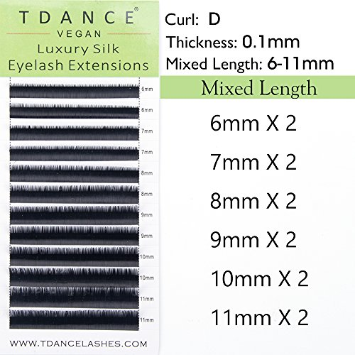 Professional Silk (TDANCE Premium D Curl 0.1mm Thickness Semi Permanent Individual Eyelash Extensions Silk Volume Lashes Professional Salon Use Mixed 6-11mm Length In One Tray (D-0.1,6-11mm))