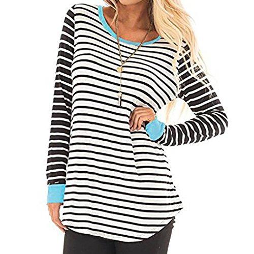 Kinrui Women's Casual Stripe Splice T-Shirt O-Neck Long Sleeve Blouses Tunic Sweatshirt Pullover Shirt (Blue, XL) by Kinrui