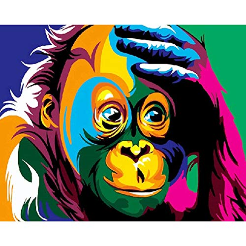 100% Hand-Painted Canvas Wall Art Colorful Orangutan Monkey Thinking Modern Abstract Art Work Painting Living Room Bedroom Office Home - Monkey Painted
