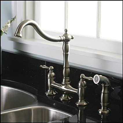 Brushed Nickel Kitchen Faucet With Matching Sprayer   Bridge Style