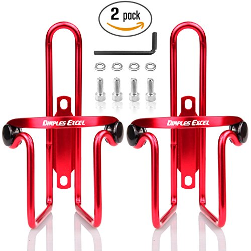 Water Bottle Cages, Dimples Excel Bike Bicycle Lightweight Water Bottle Holder Cages Brackets (2 PACK ( Red + Red ))