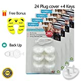 #2: Electric Outlet Plugs covers Baby Proofing( 24 Plug + 5 Keys),baby safety ElectricalProtector Caps Kit for Toddlers child