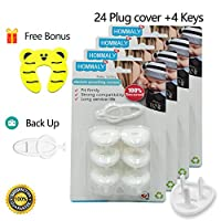 Electric Outlet Plug covers Baby Proofing( 24 Plug + 5 Keys),baby safety Elec...