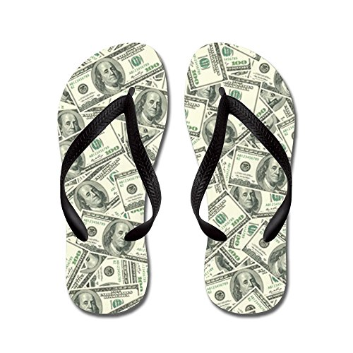 Cafepress 100 Dollar Bill Geld Patroon - Flip Flops, Grappige String Sandalen, Strand Sandalen Zwart