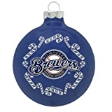 Milwaukee Brewers 2 5/8'' Painted Round Candy Cane Christmas Tree Ornament