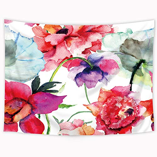 Riyidecor Watercolor Poppy Tapestry Floral Flower Romantic Spring Meadow Wildflower Tapestry Bohemian Boho Wall Hanging Indigenous Bedroom Living Room 51x59Inch