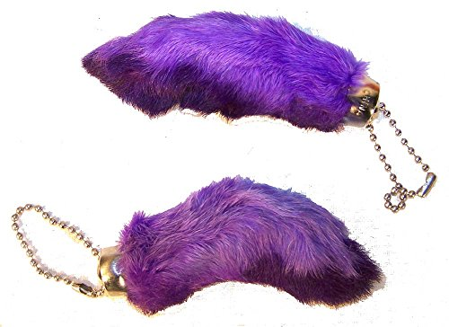 2 Pieces of Purple Color Novelty Real Rabbit Foot Key Chains for $<!--$2.99-->