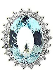 14.57 Ct White Gold Aquamarine & Diamond Ring 14 Kt