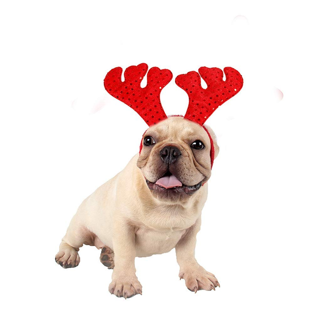 Yevison Dog Tiara Red Antlers Pet Headband Christmas Daily Necessities Out Jewelry Headgear Hat