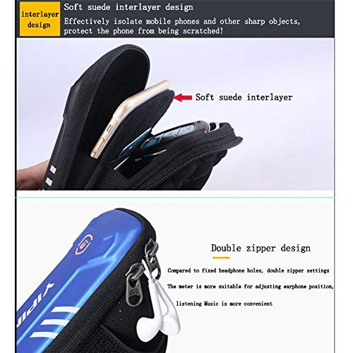 sports armband Waterproof Sports Cell Phone Arm Bag, Cool and Casual Night Running Armband for Workout in Gym, Running, Cycling,Hiking,Horse Riding,Jogging,and Nordic Skiing (blue, Large)