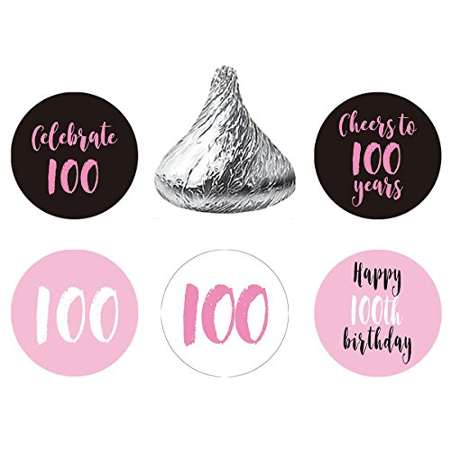 MAGJUCHE Pink 100th Birthday Party Favor Stickers, Round Candy Labels Fit Hershey