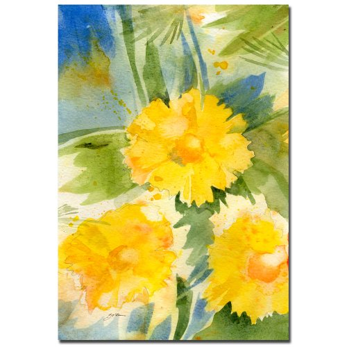 Wild Flowers by Sheila Golden, 22x32 inches Canvas Wall Art - Golden Yellow Flower
