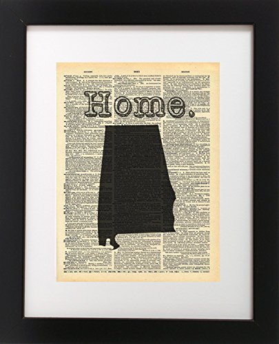 Alabama US State Map Vintage Dictionary Print 8x10 inch Home Vintage Art Abstract Prints Wall Art for Home Decor Wall Decorations For Living Room Bedroom Office Ready-to-Frame