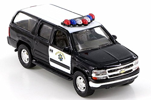 2001 Chevy Suburban Police SUV, Black - Welly 42312E-D - Diecast Model Toy Car (Brand New but NO BOX)