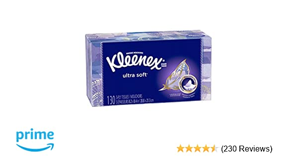 Kleenex Ultra Soft Facial Tissues 130 Count (Pack of 8), Disposable Facial Tissues, Gentle and Durable, 3-Ply Thickness, Designs May Vary