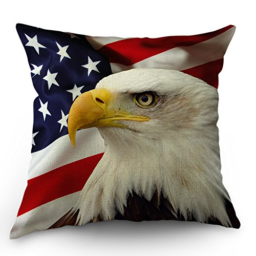 Decorative Flag Pillow (Moslion American Flag Eagle Pillow Covers Decorative by Cool and Big Eagle on Usa Flag Throw Pillow Cases 18