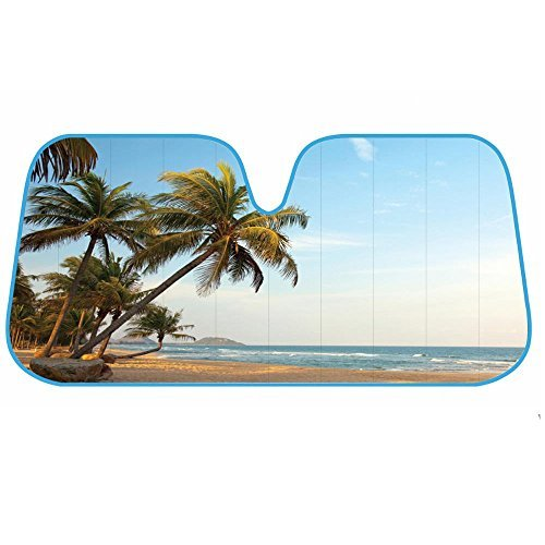 (BDK AS- 601_AM Palm Tree Tropical Island Sunset Auto Windshield Sun Shade (for Car SUV Truck-Bubble Foil Folding Accordion) -)