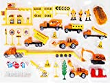 Complete Truck World Construction Crew 40 Pcs Mini Diecast Vehicle Toy Play Set Comes with Variety of Vehicles and Figures