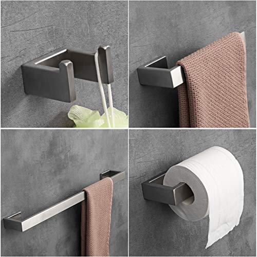 LuckIn 4pcs Bath Hardware Set Stainless Steel Towel Bar Set, Modern Bathroom Hardware Accessory Set Brushed Nickel, Towel Bar Holder Set with Double Robe Coat Hook, TRS001C by LuckIn (Image #7)