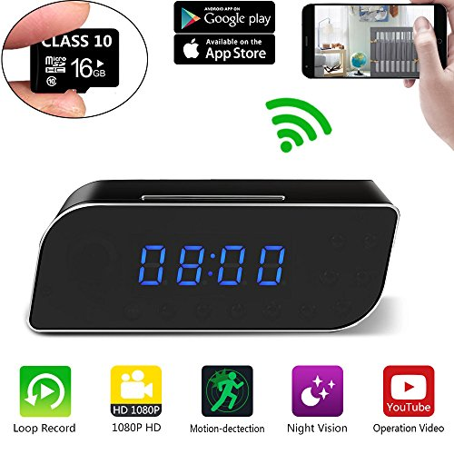 era WiFi HD 1080P Small Nanny Cam Wireless MiNi IP desk clock hidden Camera For Home Security By IOS Android Free App(Updated version) (Desk Clock Camera)