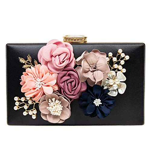 Women's Flower Clutches Evening Bags Pearl Beaded Evening Handbag Purses For Prom Bride Wedding