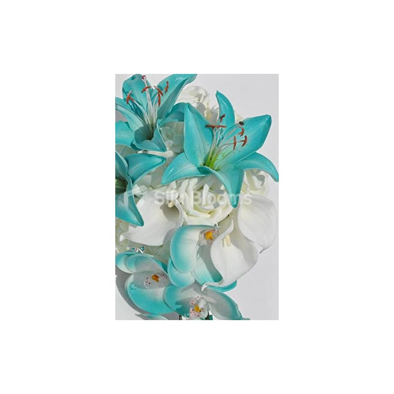 silk flower arrangements silk blooms ltd jade artificial stargazer lily and orchid cascade bridal bouquet with ivory roses and calla lilies