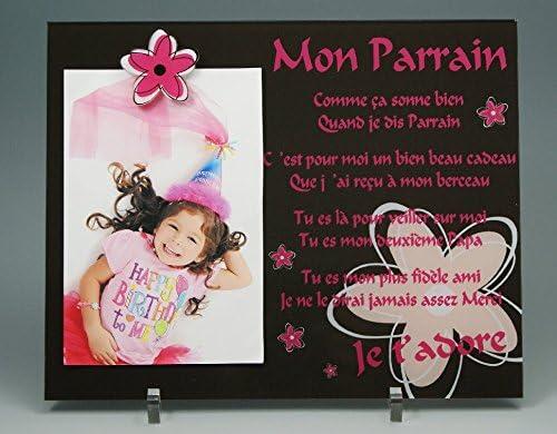 Cadeau Parrain Marraine Bapt/ême /& Communion Cadre Photo Aimant pour Parrain