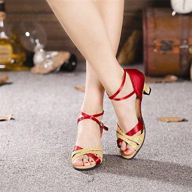 Farben mehr Tanzschuhe Cuban Ruhe Satin Latein Heel paillette gold Damen g7q8xv