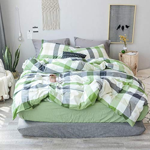 (MKXI Cotton King Size Bed Duvet Cover Geometric Pattern Green White Grid Plaid Bedding Sets)