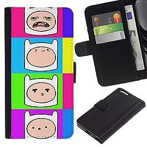 """Apple (5.5 inches!!!) iPhone 6+ Plus , la tarjeta de Crédito Slots PU Funda de cuero Monedero caso cubierta de piel ("""" Comic Cartoon Smiley Face Colorful Neon"""")"""