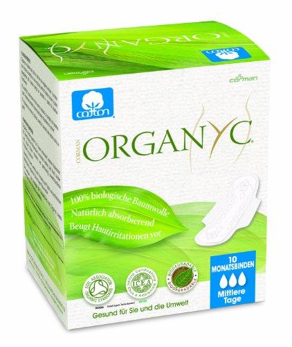 Organyc Damenbinden mit Flügeln für den Tag aus 100% biologischer Baumwolle, 4er Pack (4 x 10 Stück)