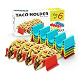 GINKGO Taco Holder Stand Set of 6 - Taco Truck Tray Style Rack Holds Up to 4 Tacos Each, PP Health Material Very Hard and Sturdy, Dishwasher Top Rack Safe, Microwave Safe ...
