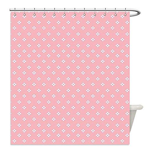 Liguo88 Custom Waterproof Bathroom Shower Curtain Polyester Pink Delicate Small Florets in White Feminine Elegant Genteel In Vogue Soft Design Light Pink White Decorative - Plains White Galleria In