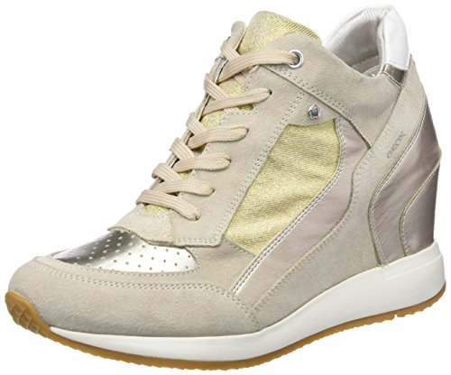 Sneakers Wedge Leather (Geox Women's Nydame 6 Sneaker, Light Taupe/Light Gold, 38 M EU (8 US))