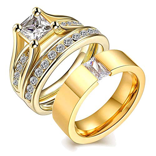 (wedding ring set Two Rings His Hers Couples Rings Women's 10k Yellow Gold Filled White CZ Wedding Engagement Ring Bridal Sets & Men's Stainless Steel Wedding Band)