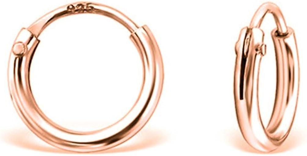 DTP Silver - Pendientes de Aro de mujer - Plata 925 - Plateada en Oro Rosa 18 K - Espesor 1.5 mm - Disponible en Diámetro 8, 10, 12, 14, 16, 18, 20, 25 mm
