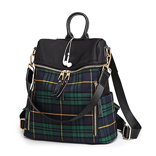 Mn&Sue Dual Use Plaid Backpack Purse for Women Schoolbag Casual Daypack Rucksack