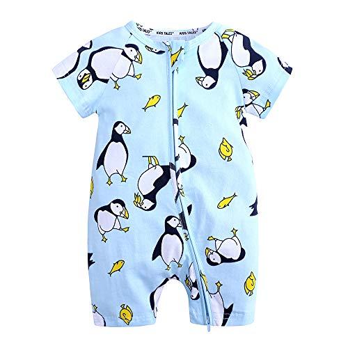 Kids Tales Summer Baby Boy Short Sleeve Pajamas Penguin Print Zipper Romper