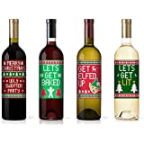 Christmas Funny Ugly Wine Bottle Labels - Holiday Christmas Wine Bottle Labels - Set of 4