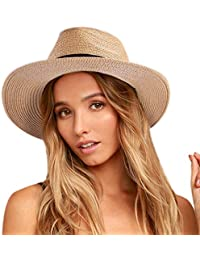 3d1d083860e35e Womens Mens Wide Brim Straw Panama Hat Fedora Summer Beach Sun Hat UPF50