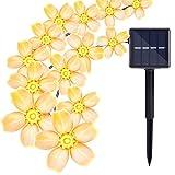 Solar String Lights Outdoor, Oak Leaf 20 feet 30 LEDs IP44 Waterproof Crystal Flower LED String Lights for Patio,Garden,Tree Decor,Warm White