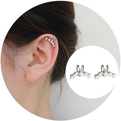 Aifeer Sterling Silver Non Pierced Ear Stud Earrings 5 Pearls Wrap Cuff Clip On Ear Clamp (A Pair)